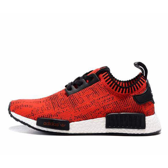 Adidas Nmd R1 Shoes Red Black Fabric Shopee Malaysia