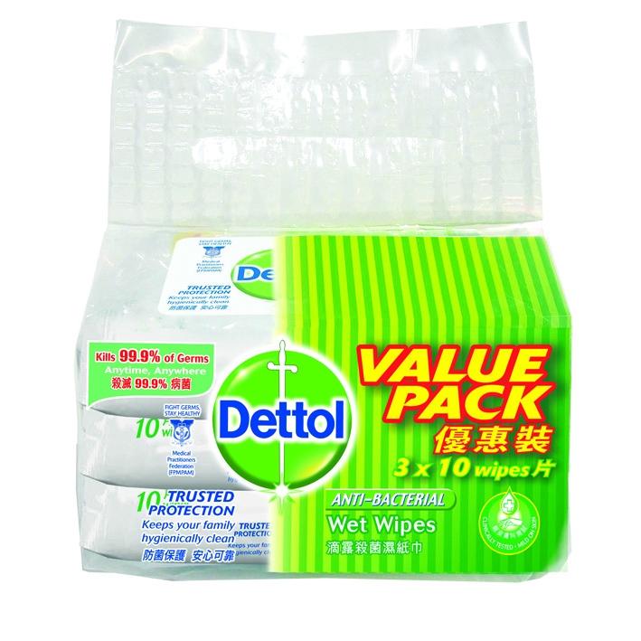 Dettol Wet Wipes Antiseptic AntiBacterial (3 x10\'s)