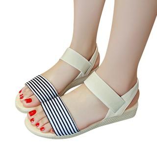 dbfd67ea6028 Fashion Women Stripe Flat Heel Anti Skidding Beach Shoes Sandals Slipper