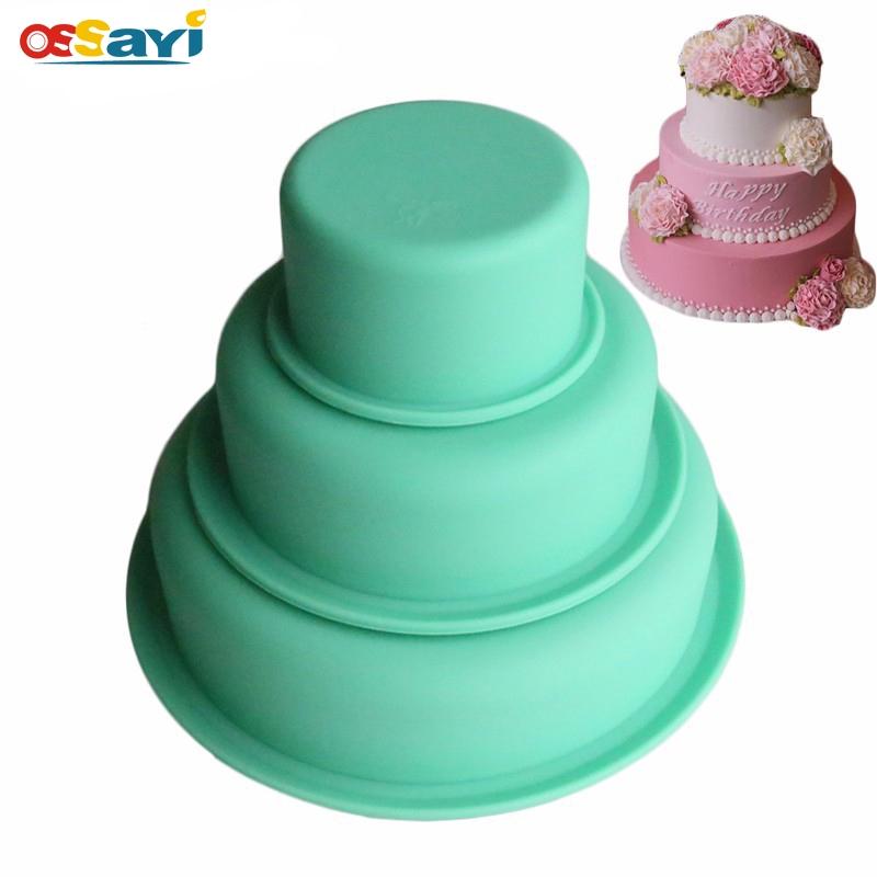 Pleasing 3Pcs Set Silicone Cake Mold Round 3 Layer Wedding Birthday Cake Personalised Birthday Cards Cominlily Jamesorg