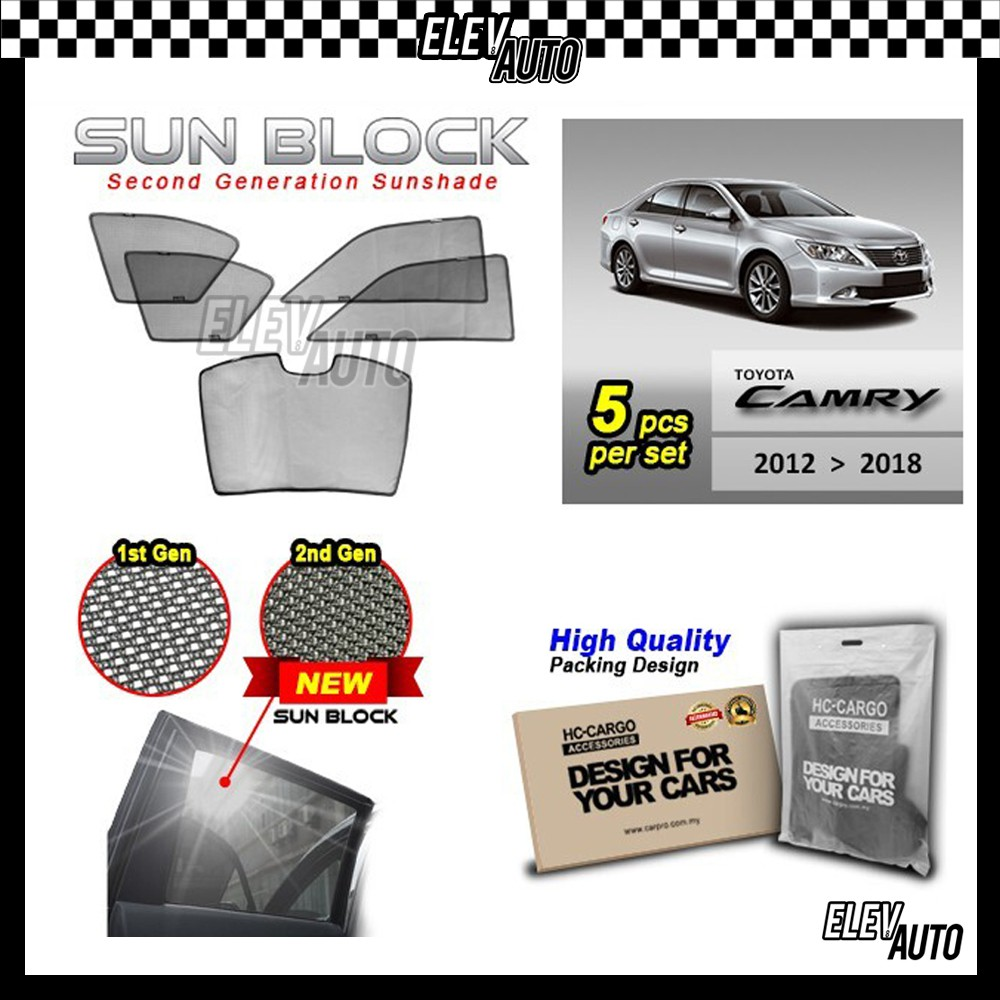 Toyota Camry 2012-2018 SUN BLOCK Premium Magnetic Sunshades