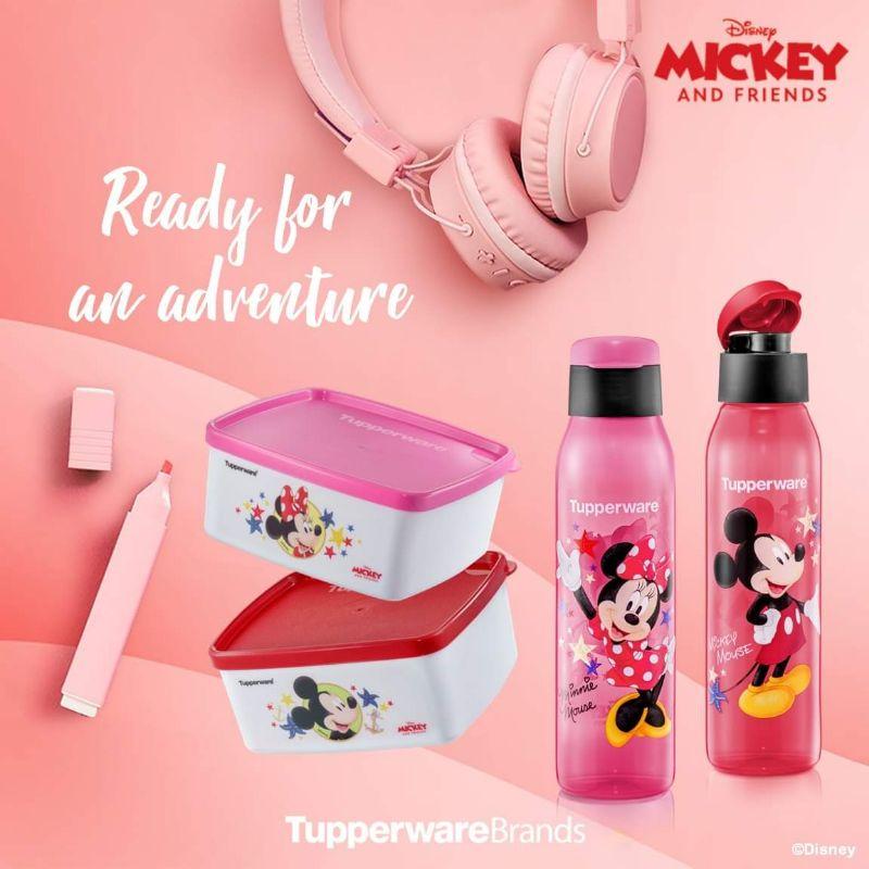 ReadyStock Tupperware Mickey & Minnie Eco Bottle (2) 500ml PWP Snack Box (2) 400ml
