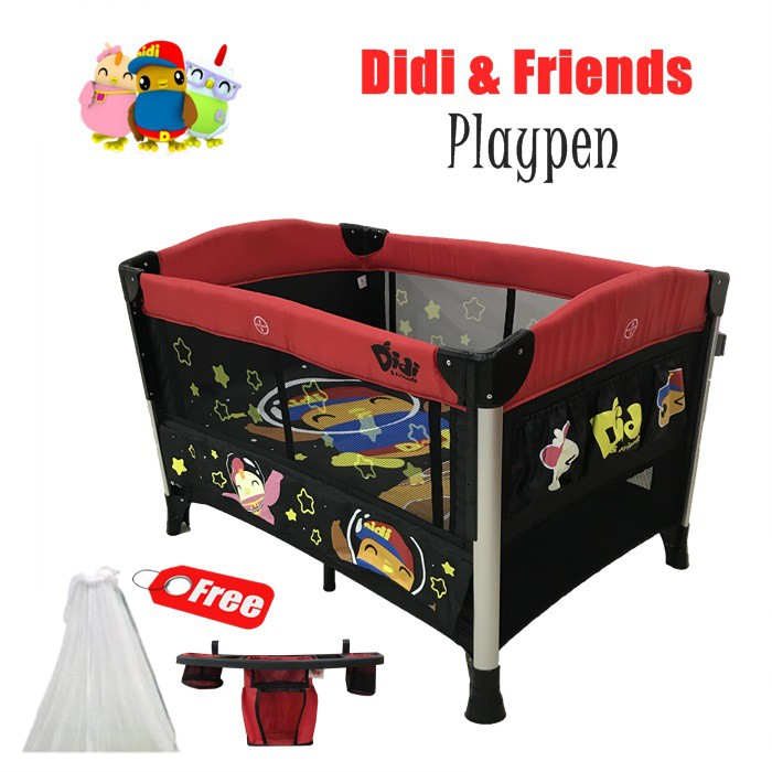 Didi & Friends Baby Toddler Playpen l Baby Cot with Diaper Change & Mosquito Net