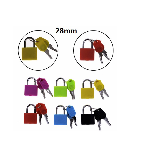Neon Colored Plastic Coated Brass Padlock Premium Quality Travel Luggage Office Home Locker Cabinet Alloy Padlock 28mm