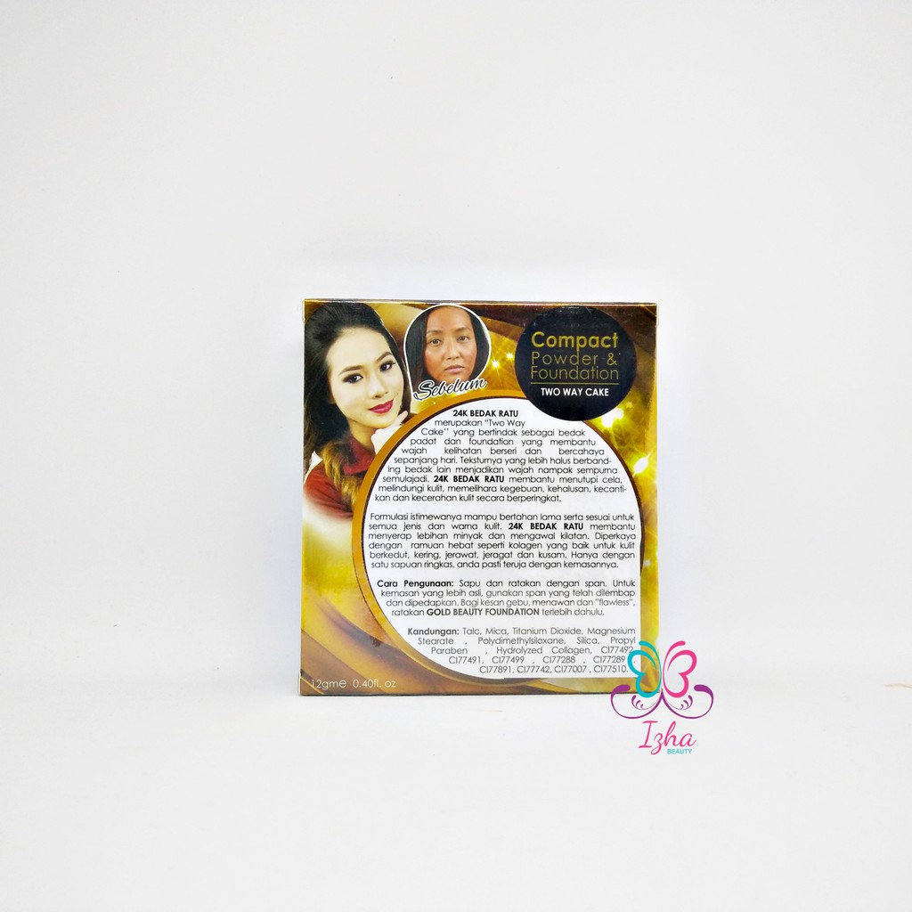 [V'ASIA] 24k Bedak Ratu Compact Powder & Foundation (Golden Classic) - 12g