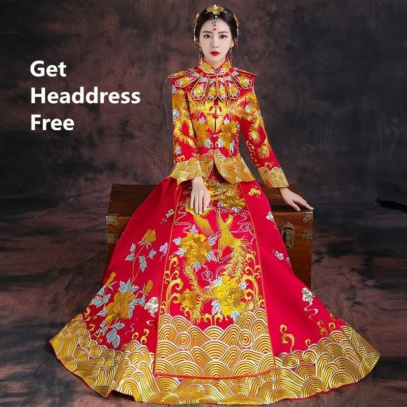 Bride Luxury Dragon And Phoenix Wedding Dress Xiuhe Red Chinese