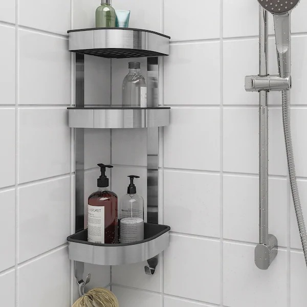 Ikea Brogrund Corner Wall Shelf Unit Bathroom Shower Room Stainless Steel Rak Dinding Bilik Air 19x58 Cm Shopee Malaysia