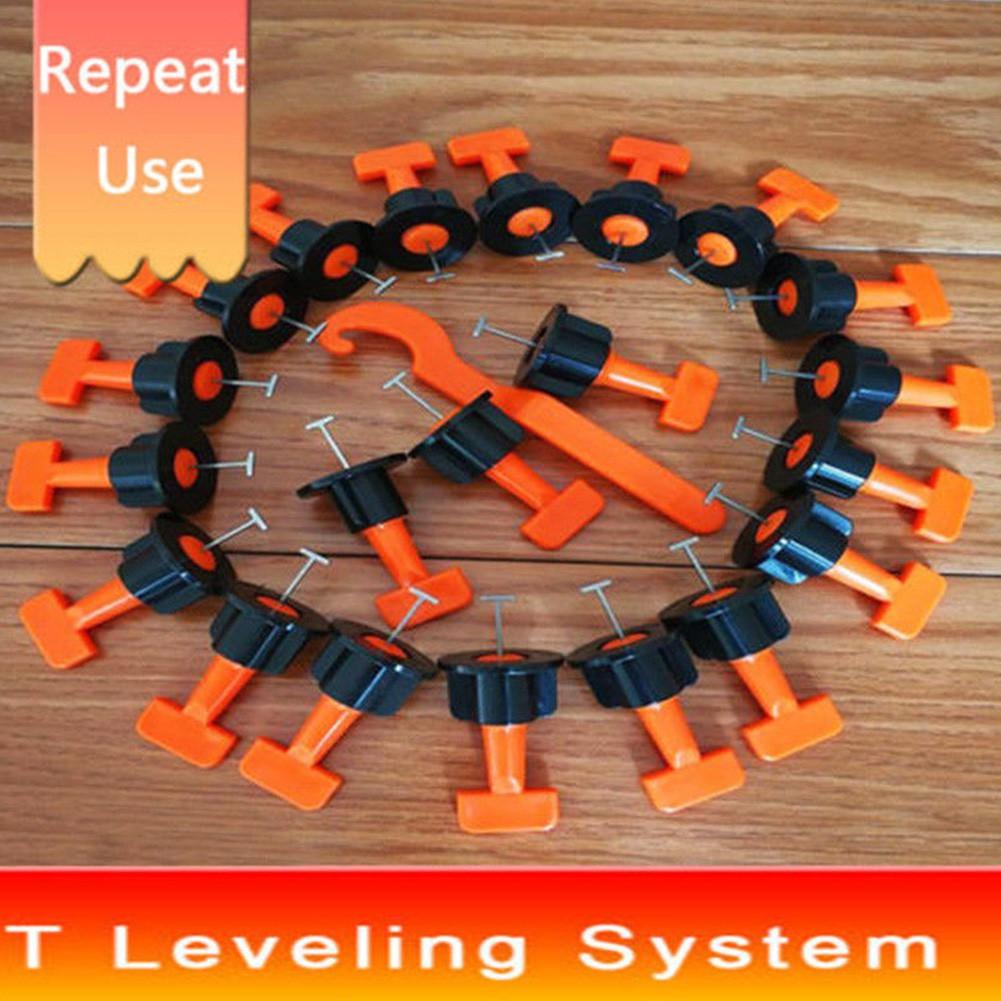 50Pcs Reusable Tile Leveling Positioning System Leveler T-lock Floor Tool Kit