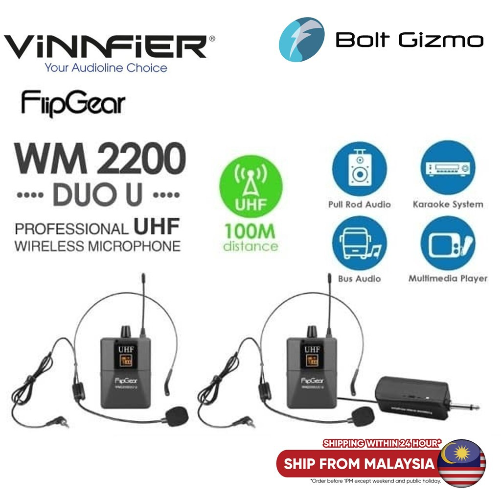 Vinnfier WM2200Duo U Professional UHF HandsFree Headset Wireless Microphone 2 pcs with Receiver  Audio WM2200