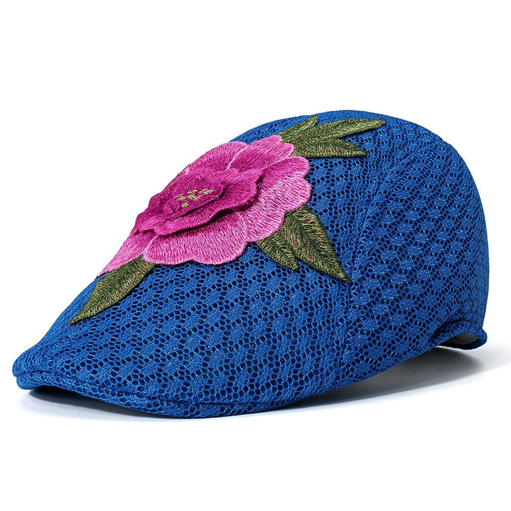 41fc9a1f8 IB⊙Women Summer Outdoor Embroidered Flowers Beret Hat Sunshade