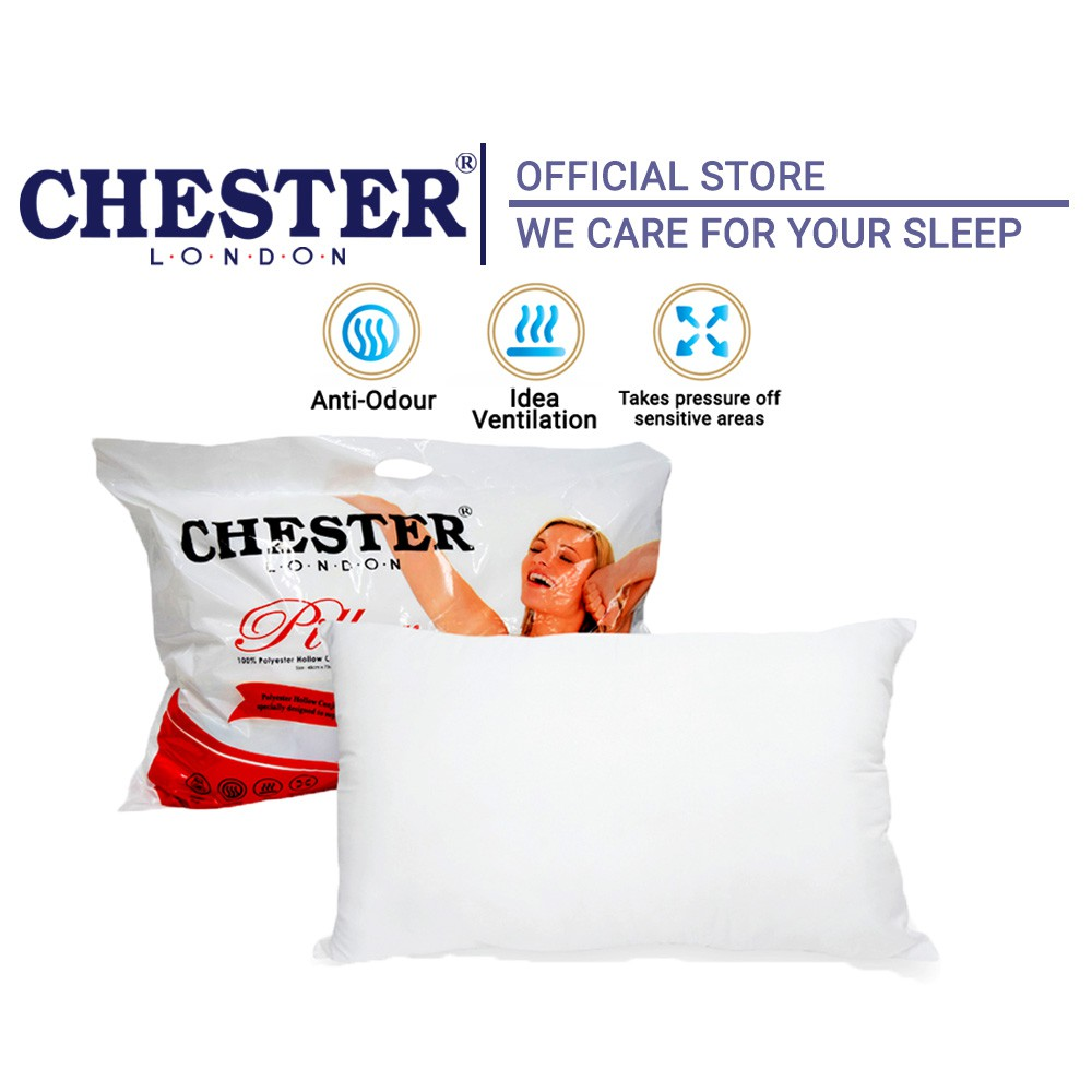 """Chester London 100% Polyester Hollow Conjugate Siliconized Fibre Pillow / Bantal Hotel - 19"""" x29"""""""