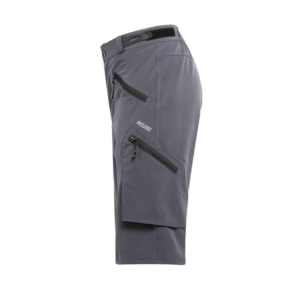ARSUXEO Men's Baggy Cycling Shorts Bike Bicycle Shorts Sports Pants (gray)