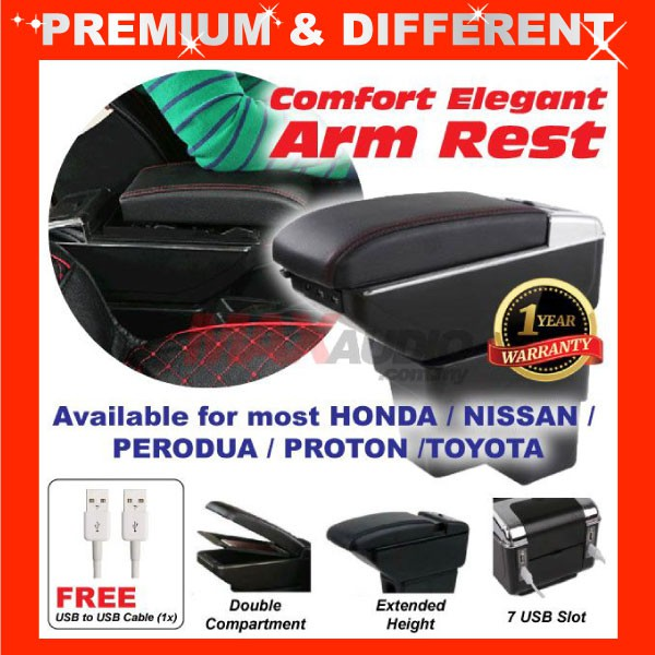 [FREE Gift] ARMREST MOST CARS HONDA NISSAN TOYOTA PROTON PERODUA DOUBLE LAYER COMFORT ADJUSTABLE ARM REST 7 USB PORT