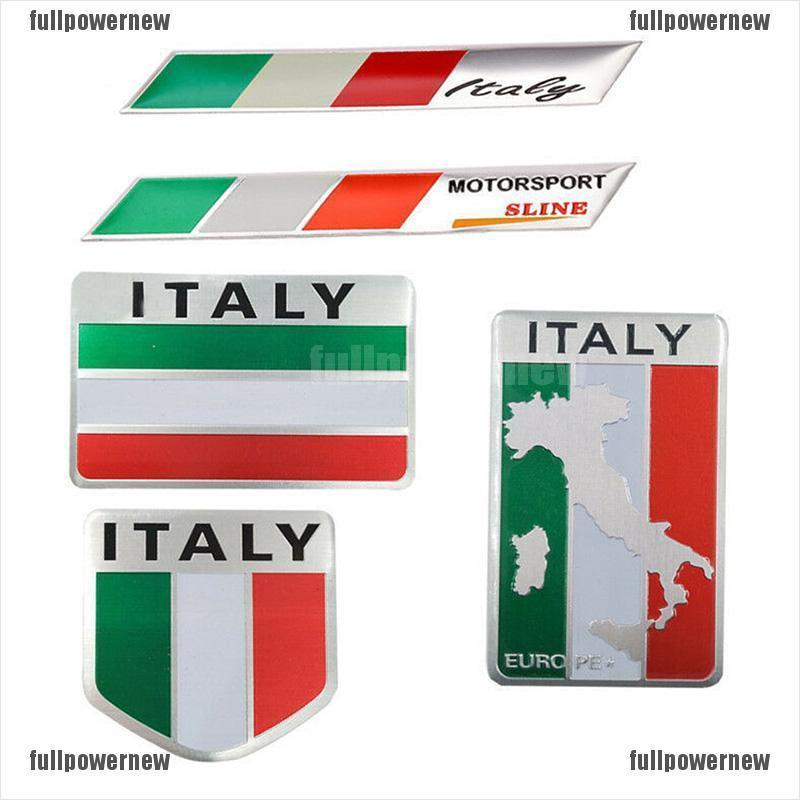 2pcs ALUMINUM Italian Flag Emblem Sticker 3D Decal fit for Auto Car Zinc alloy