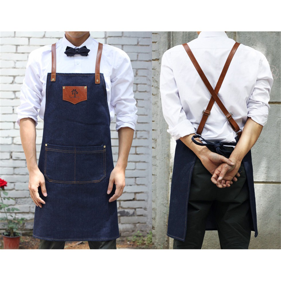Unisex Aprons Chef Apron Denim Apron for Working Cooking Cleaning