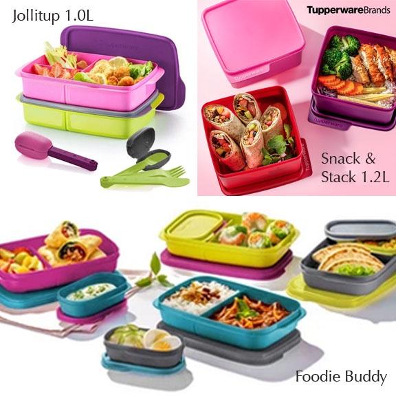 Tupperware Foodie Buddy 560ml - (2PCS/4PCS) / Snack & Stack 1.2L - (3PCS) / Jollitup 1.0L with OTG Cutlery Set