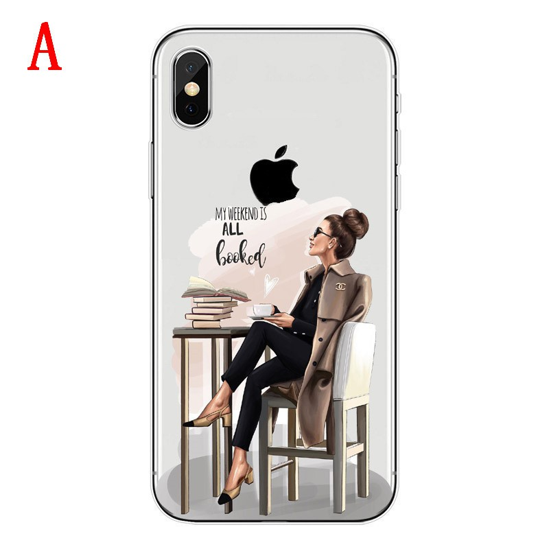 online store 65125 bd8ea Paris VOGUE model girl Soft TPU Phone Back Case Cover For iPhone XS 6 6S  Plus 7 8 8Plus X XR MAX clear silicone Cover