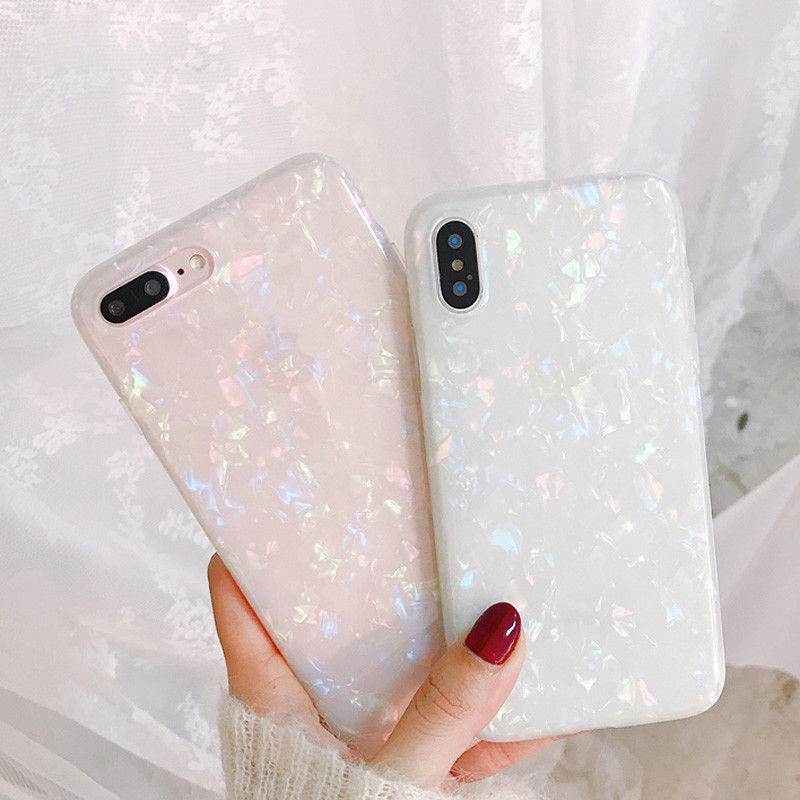 iPhone XS Max 8 6s 7 Bright Marble Shell Texture Shockproof Hard Case Cover