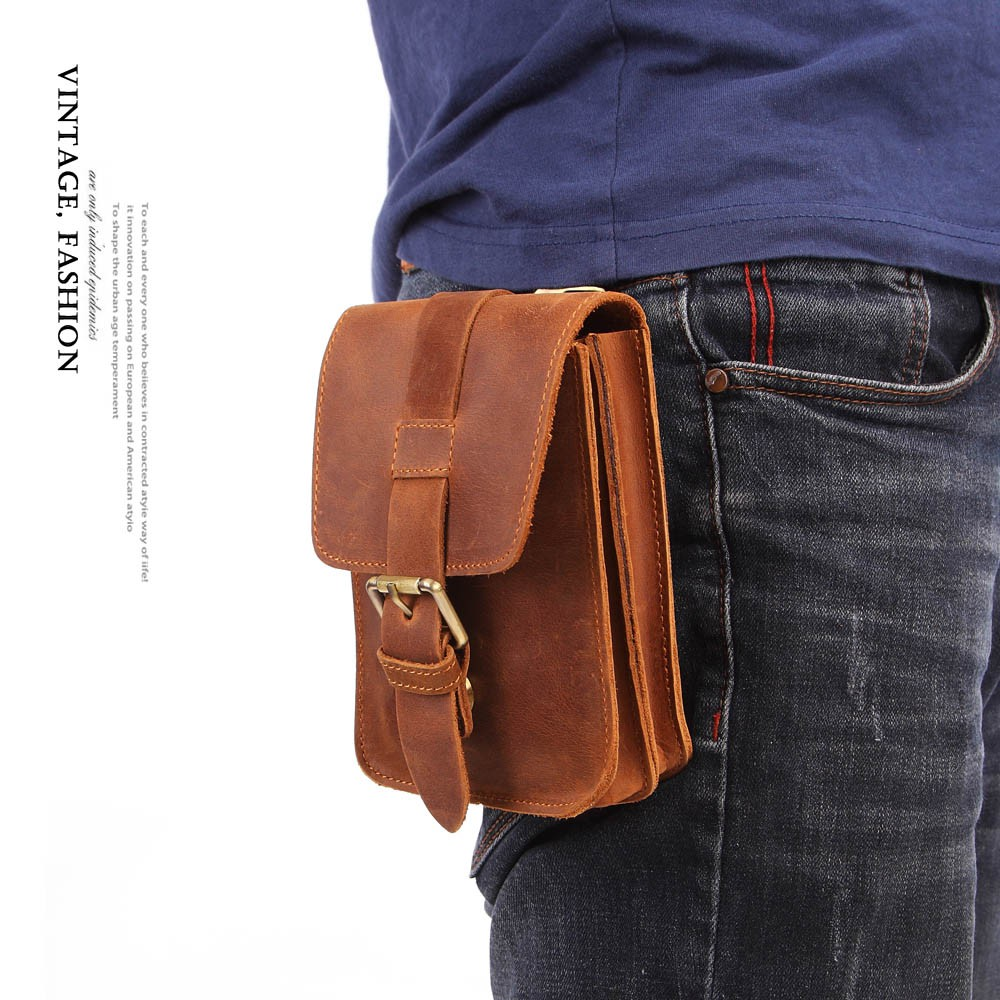 Men/'s Soft Leather Mobile Phone Case Belt Loops Waist Bag Hip Fanny Pack Purse