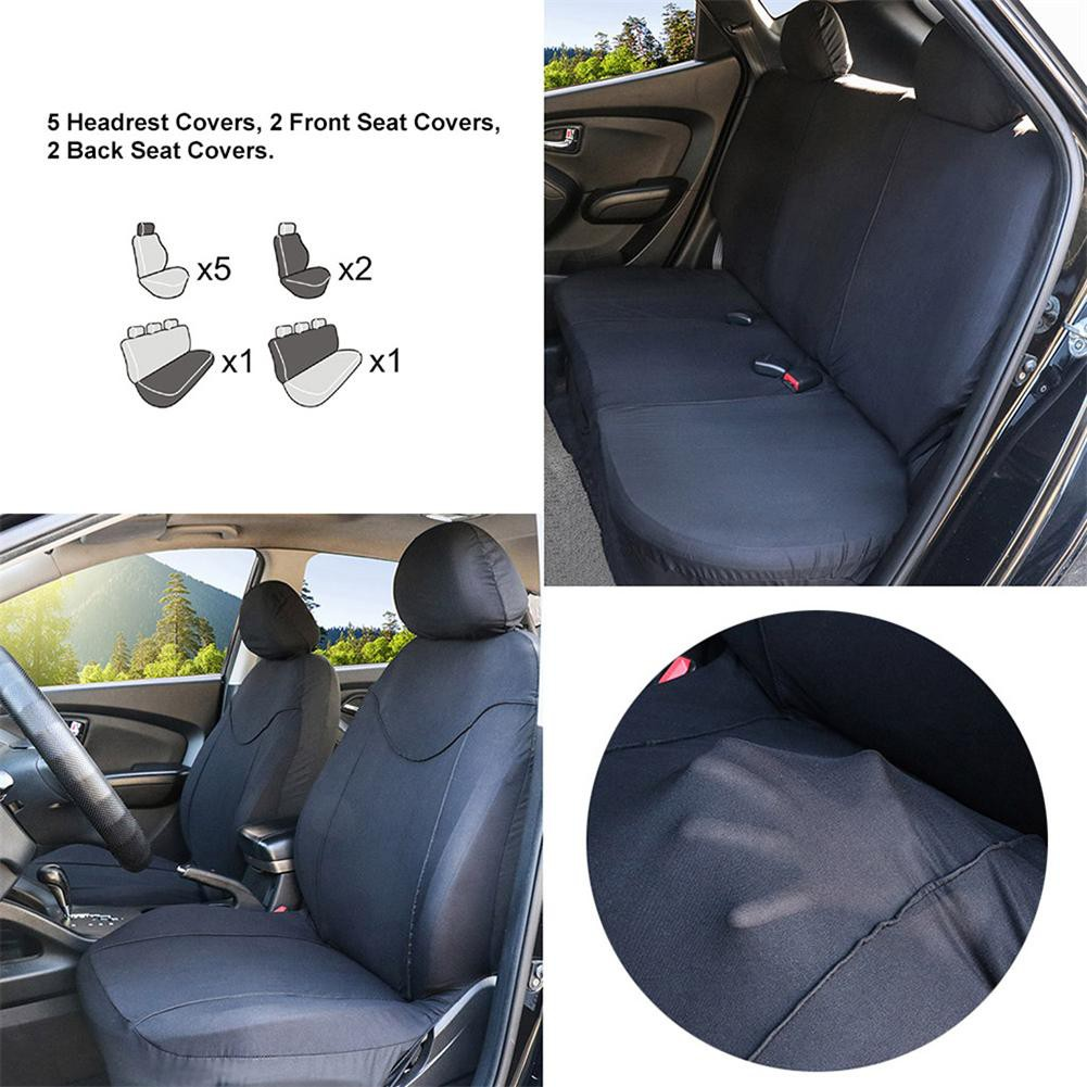 Universal 9Pcs Full Car Seat Covers Black+Red Mesh Auto Seat Covers Protector