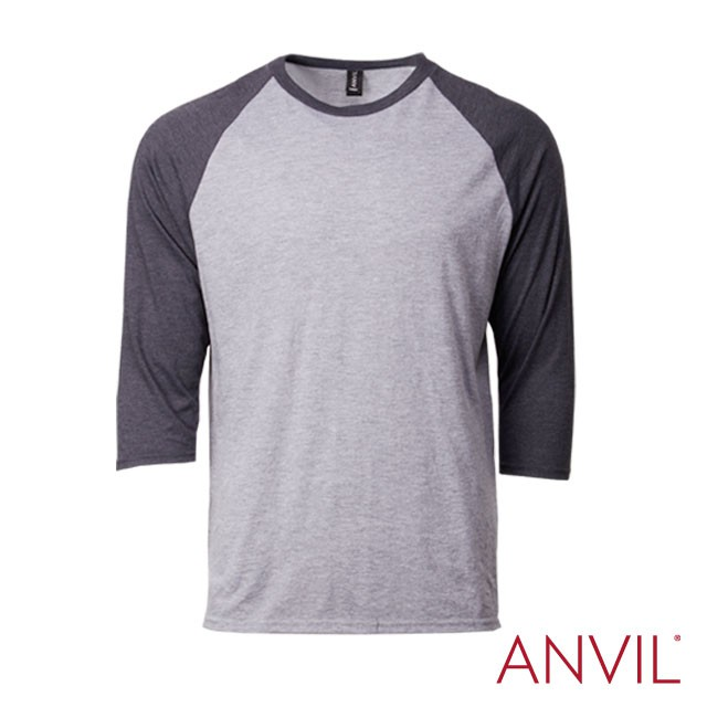 Anvil Adult Triblend ¾ Sleeve Raglan Tee Soft Contrast Soft Cotton T-Shirt TOP