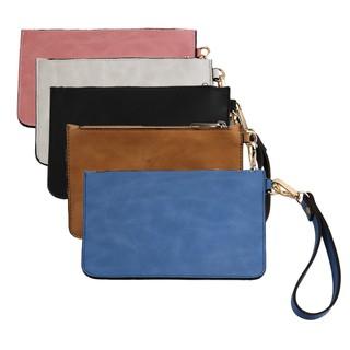 8b52d68d2f0f Easy way PU Leather Wristlet Clutch Pouch Bag Purse Zip Wallet ...