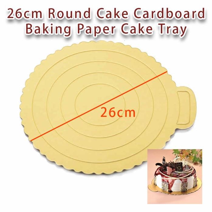 MALAYSIA V: 23 CM TRAY BEKAS KEK / 23cm Round Cake Cardboard Cake Box Bottom Bracket Baking Paper Cake Tray (GOLD)