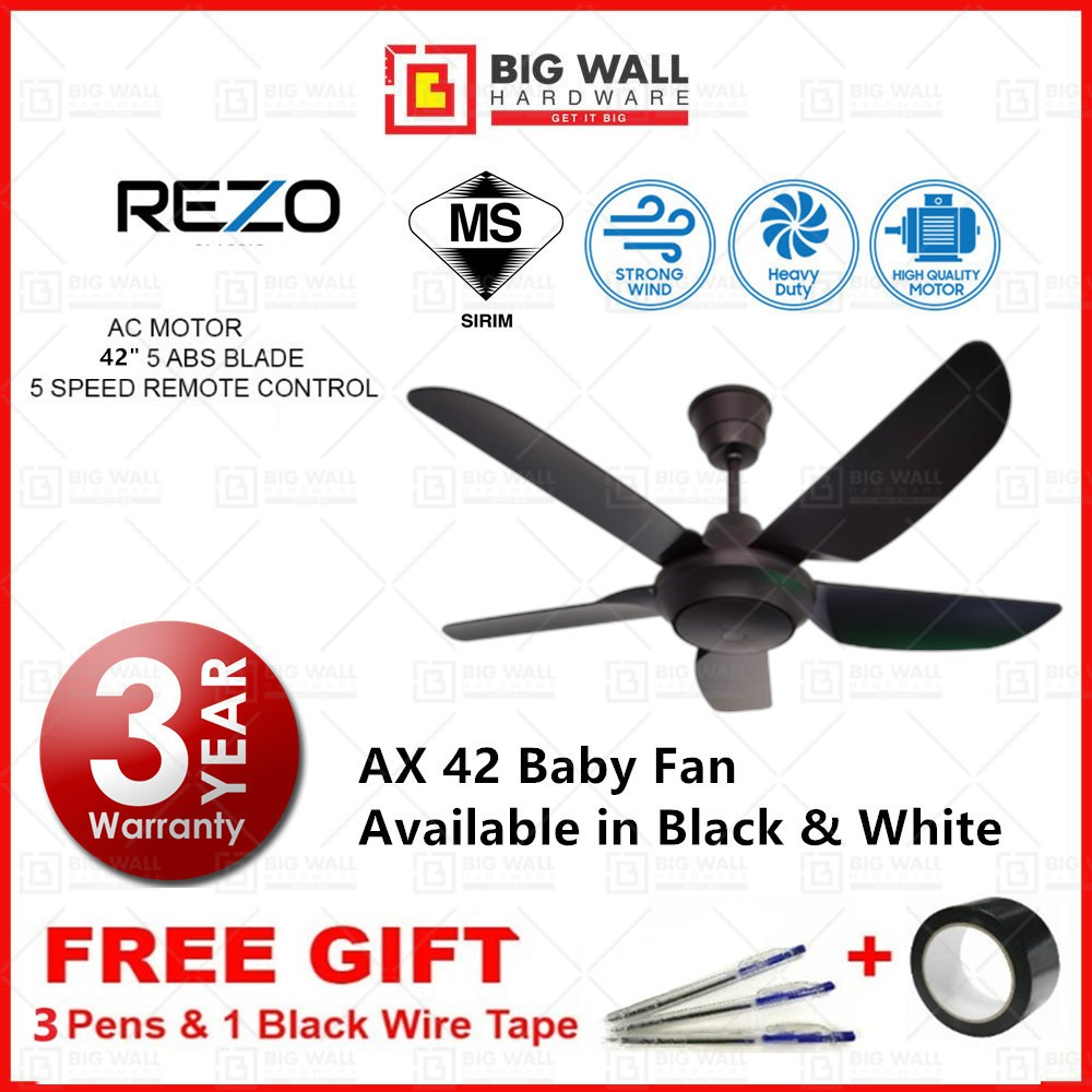 """Rezo 42"""" Baby Ceiling Fan REZO AX42 AC Motor 5 Speed 5 ABS Blades Ceiling Fan Installation Available"""