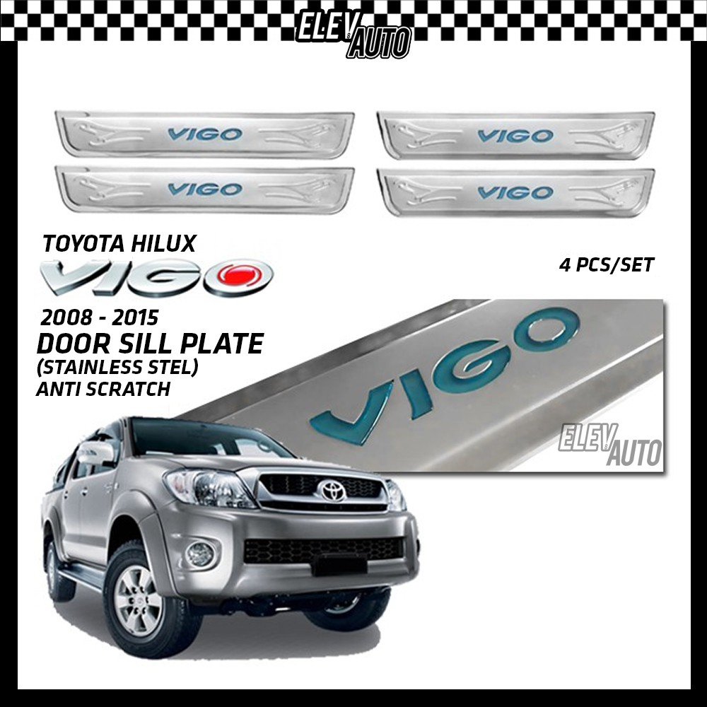 Toyota Hilux Vigo 2008-2015 Door Side Sill Step Plate (Stainless Steel)