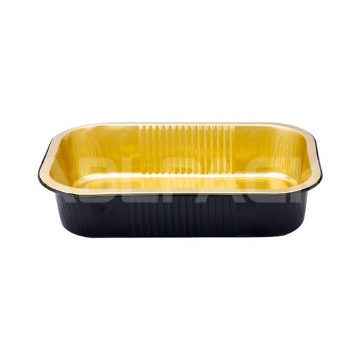 Aluminium Foil Baking Cup - Rectangular, Black Gold, 189*121*45mm, 750ml