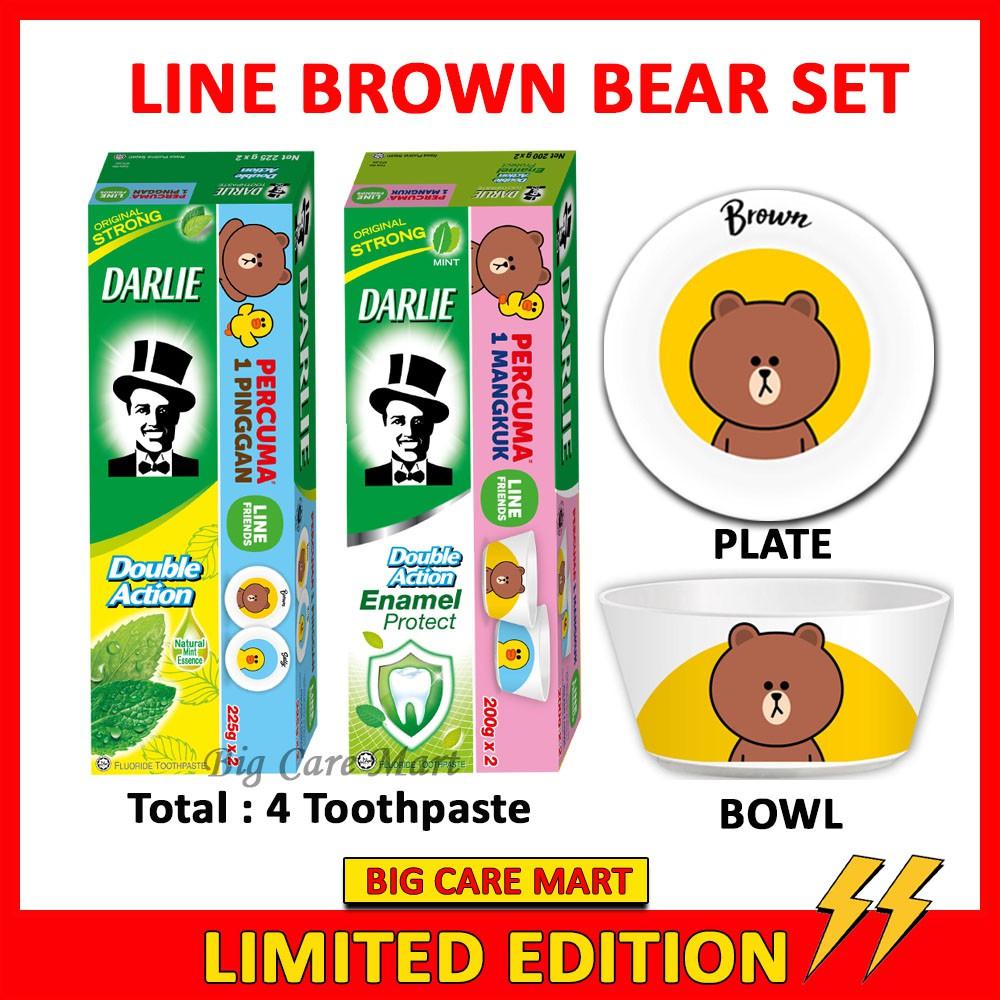 Darlie Double Action + Enamel Toothpaste + LINE Brown Bear Bowl Plate Set
