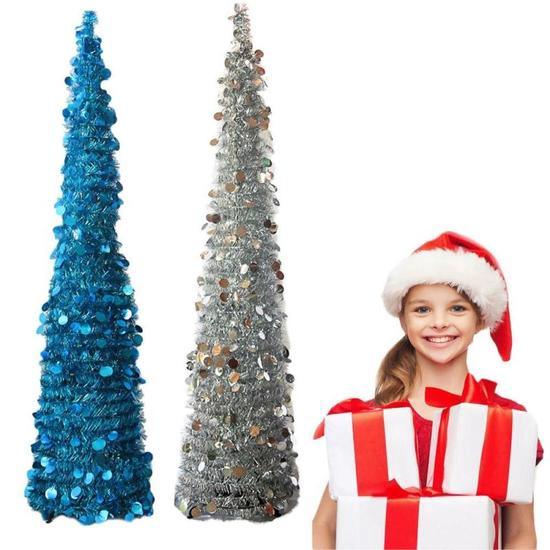 Collapsible Christmas Tree.Artificial Pop Up Collapsible Christmas Tinsel Sequins Tree With Stand