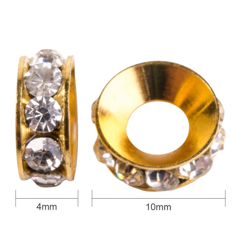 500pcs Gold Tone Iron Rhinestone Metal Beads Strianght Edge Loose Spacer 8x3.5mm