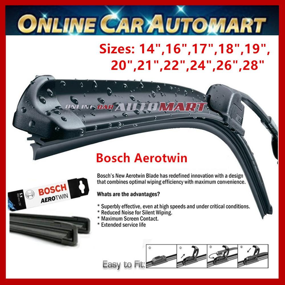"Bosch Aerotwin Wiper Blade Genuine Bosch Malaysia (Sizes:14"",16"",17"",18"",19"",20"",21"",22"",24"",26"",28"")"