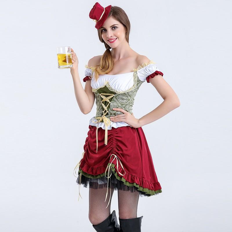 e3799e69bb11 Fancy Women Oktoberfest German Bavarian Beer Wench Maid Cosplay Costume  Dress