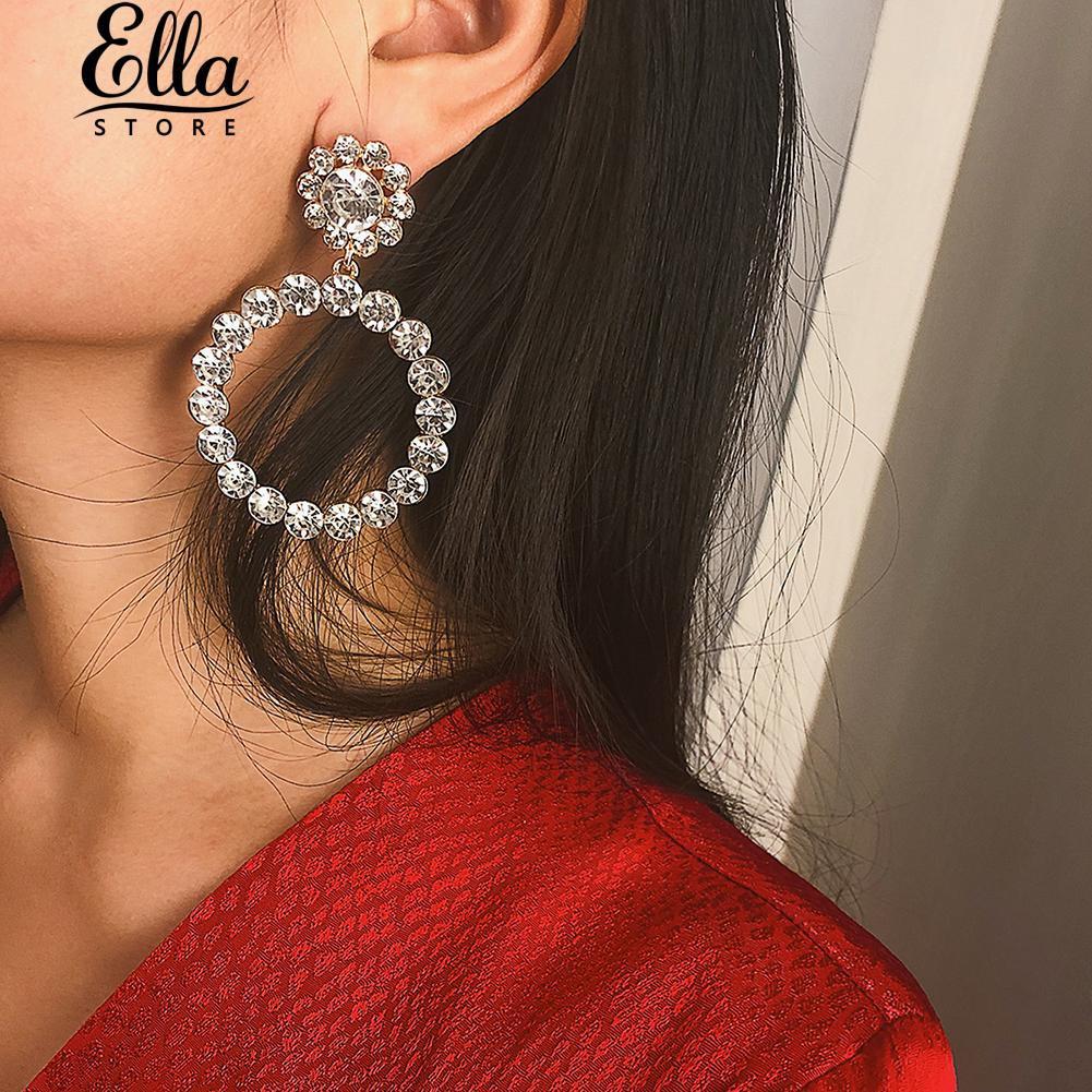 bab66dd6b8249 ❦Ellastore❦ Women Hollow Circle Pendant Pearl Rhinestone Long Earrings