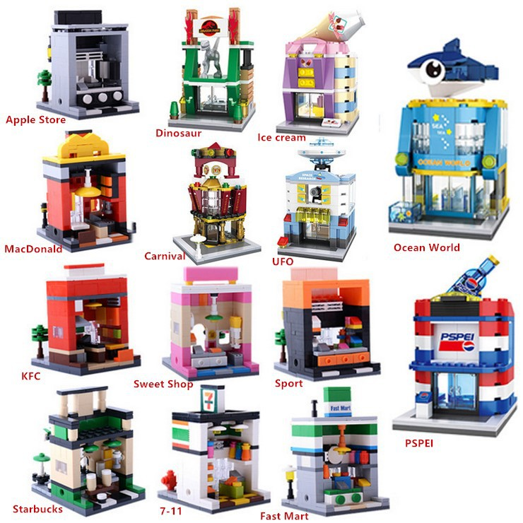 Model Building Punctual Mini Fast Mart Store Compatible Legoing City Architecture Street View Model Building Blocks Toys For Children Legoings Juguetes Fast Color