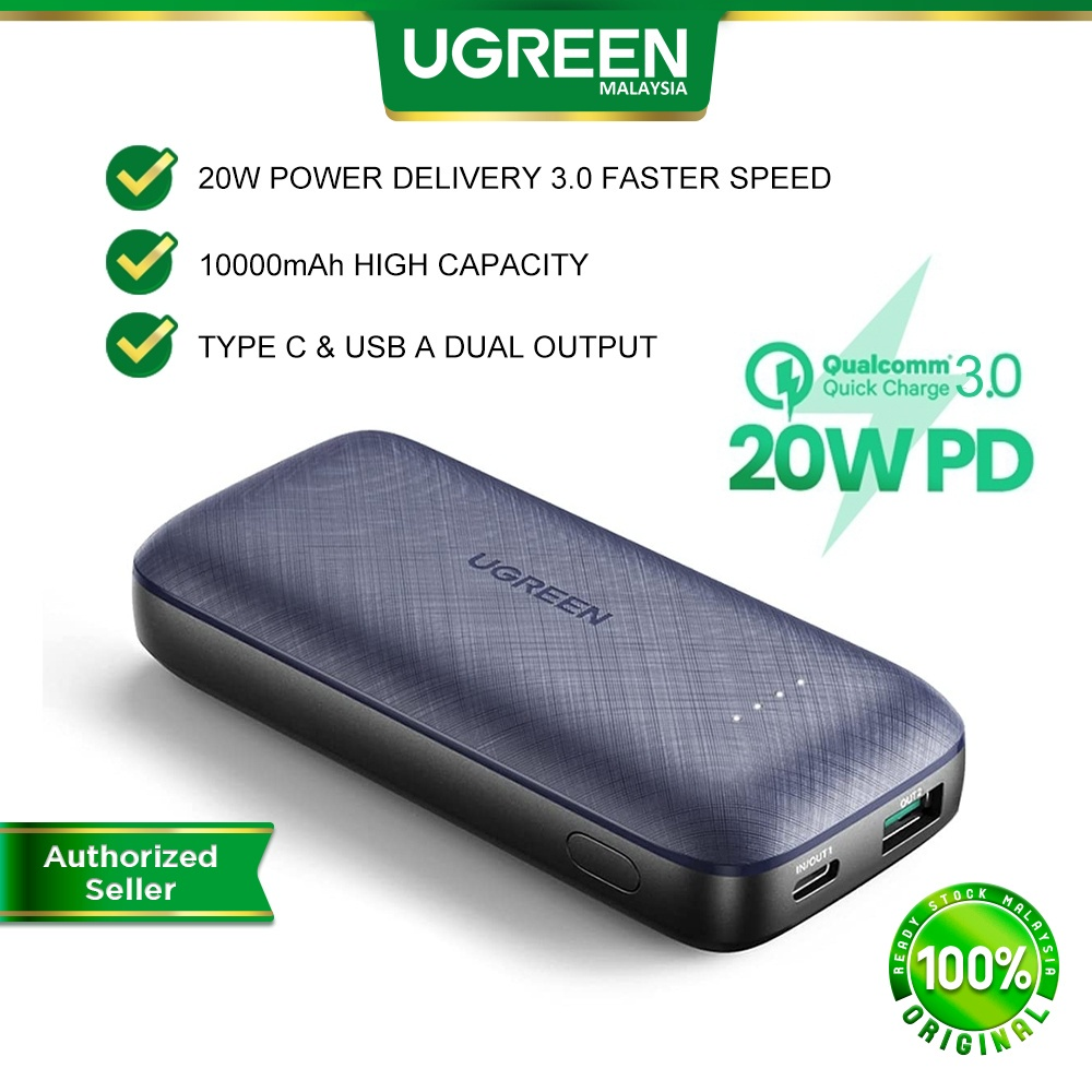 UGREEN 20W PD QC 3.0 Fast Charging Power Bank 10000mAh Charger Mobile Android iOS iPhone 13 Pro Max iPad Pro Air