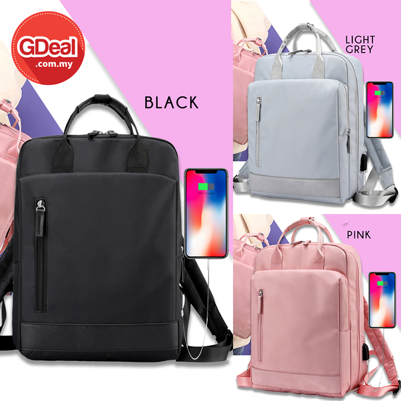 GDeal Simple Casual Large Capacity Student Laptop Backpack USB Charging Laptop Backpack Beg Galas