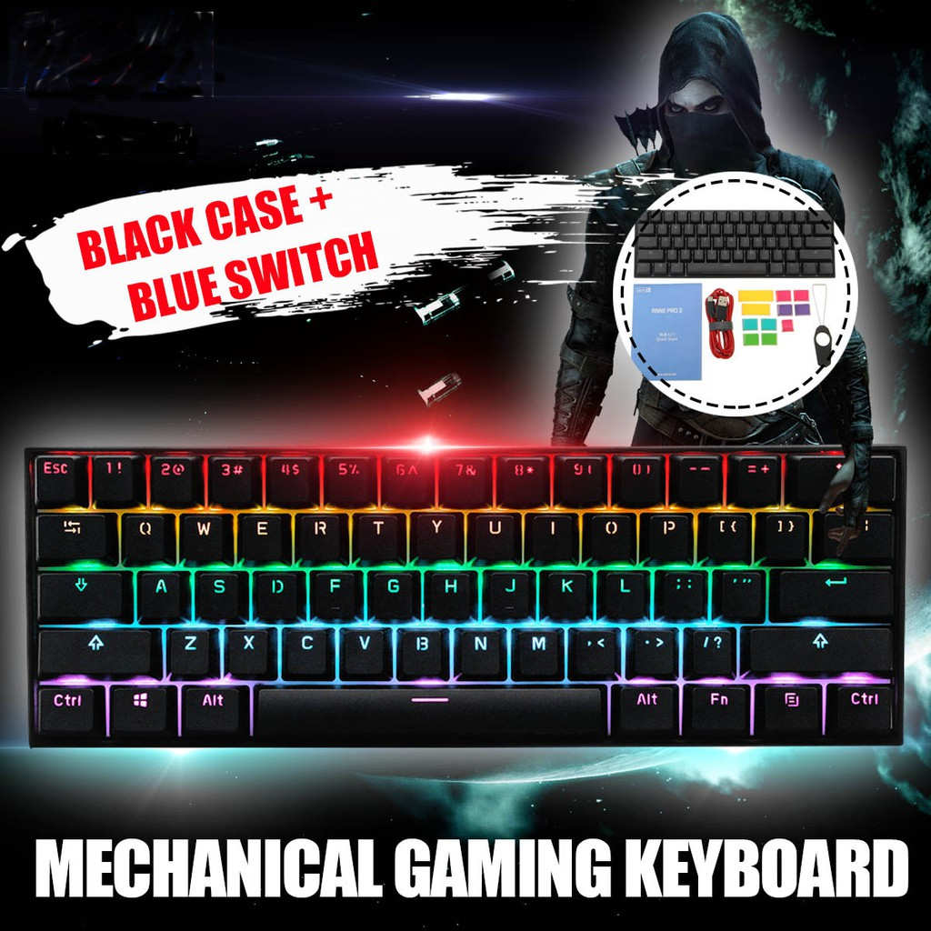 Obins Anne Pro 2 60% NKRO bluetooth 4 0 Type-C RGB Mechanical Gaming  Keyboard Gateron Switch