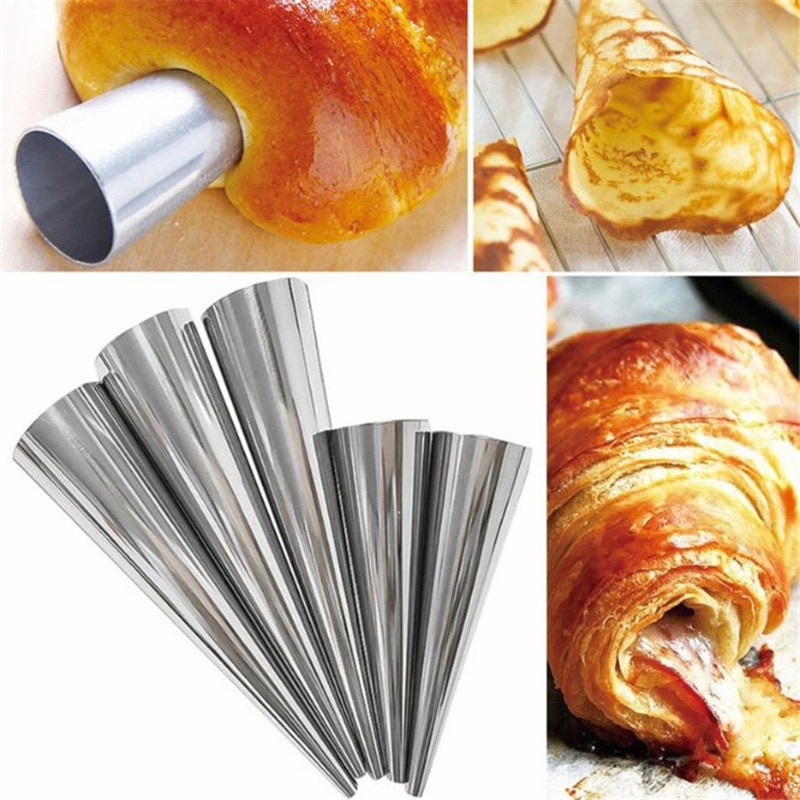 3pcs Stainless Steel Spiral Croissants Pastry Conical Tube Cone Baking Mold Tool