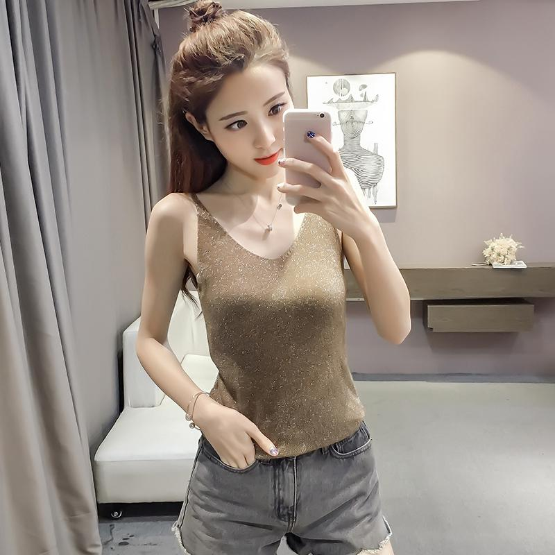 2ae22b2e14e 2019 summer sexy v-neck sweater bright silk bottoming shirt camisole |  Shopee Malaysia
