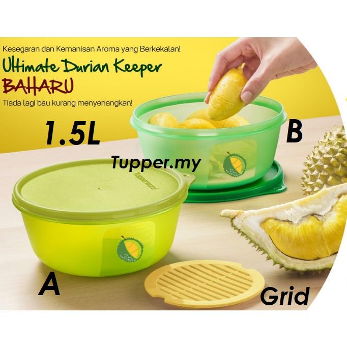 *1pc/2pcs*Tupperware Ultimate Durian Keeper With Grid Modular Bowl 1.5L Airtight Liquid Tight Green