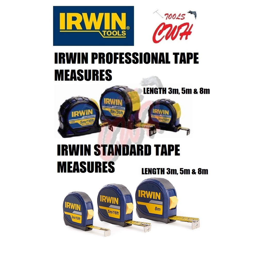 3M 5M 8M IRWIN PROFESSIONAL/STANDARD MEASURING TAPE RULER MEASUREMENT MEASURER TAJIMA KDS STANLEY KING TOYO REMAX TMT