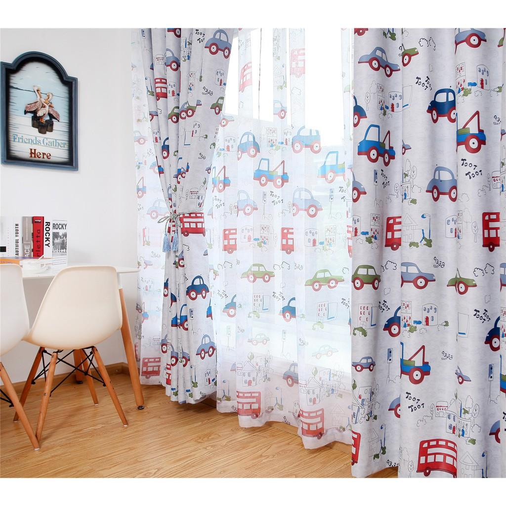 Jealous Cartoon Car Curtains Window Treatments Sheer Curtains For Kids Children Room Living Room Baby Boys Curtains Shopee Malaysia