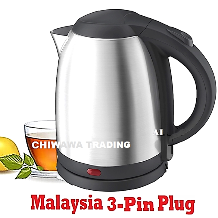 【Malaysia 3-Pin Plug】 2L Stainless Steel Electric Kettle Automatic Cut Off Jug Teapot / Cerek 2