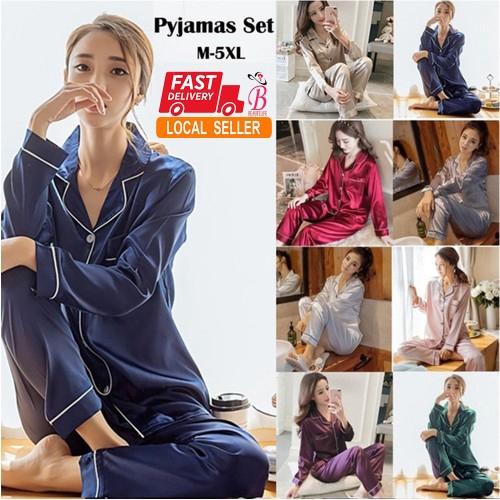 463871652 Summer Autumn Women Leaf Printing Ice Silk Short Sleeve Home Service Pajamas  | Shopee Malaysia