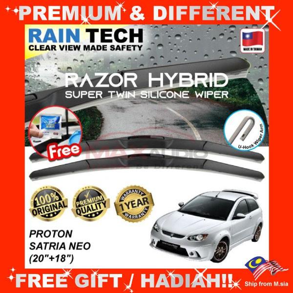 [FREE Gift] PROTON SATRIA NEO (22/18) RAIN-TECH RAZOR HYBRID Silicone Aerodynamic Clean Wipe Safety Wiper Blade