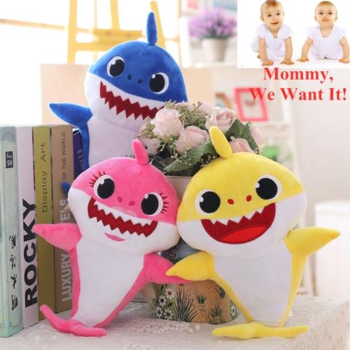 5PCS Set Baby Shark Plush Singing LED Light Plush Toys Music Doll English Song