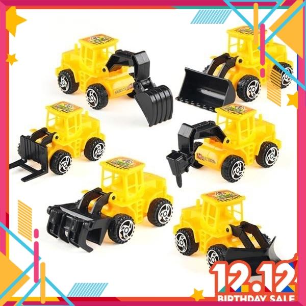 Ready Stock - New Arrivals Construction Vehicle Car Toys Cake Topper Boy Happy Birthday Cake Decor 6 pcs